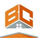 Логотип значка для строительного бизнеса с концепцией крыш и сочетаний из помечает буквами b & c Иллюстрация штока