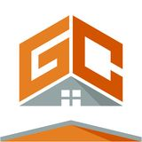 Логотип значка для строительного бизнеса с концепцией крыш и сочетаний из помечает буквами g & c бесплатная иллюстрация
