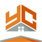Логотип значка для строительного бизнеса с концепцией крыш и сочетаний из помечает буквами y & c бесплатная иллюстрация