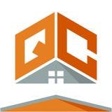 Логотип значка для строительного бизнеса с концепцией крыш и сочетаний из помечает буквами q & c иллюстрация вектора