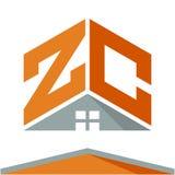 Логотип значка для строительного бизнеса с концепцией крыш и сочетаний из помечает буквами z & c Бесплатная Иллюстрация
