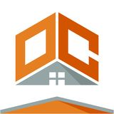 Логотип значка для строительного бизнеса с концепцией крыш и сочетаний из помечает буквами o & c Иллюстрация штока