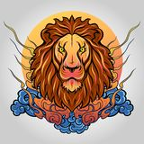 Логотип значка льва головной вектор техника eps конструкции 10 предпосылок стоковые фотографии rf
