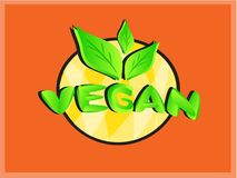Логотип значка текста Vegan с зелеными листьями Стоковые Изображения RF