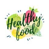 Логотип, значок, брошюра еды плаката здоровая Оформление силуэтов овощей, плодоовощей и трав Стиль штемпеля иллюстрация вектора