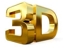 Логотип золота 3D на белой предпосылке с влиянием отражения Стоковое Фото