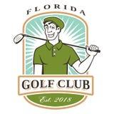 Логотип игрока в гольф иллюстрация вектора