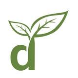 Логотип инициала d вектора зеленый Стоковое Изображение