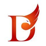 Логотип инициала d хоука вектора оранжевый Стоковые Изображения