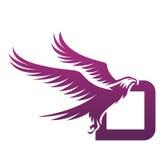 Логотип инициала d хоука вектора фиолетовый храбрый Стоковое Изображение