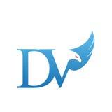 Логотип инициала DV хоука вектора голубой Стоковые Фото