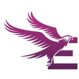 Логотип инициала e хоука вектора фиолетовый храбрый Стоковое Изображение RF