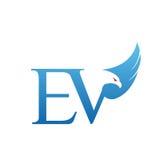 Логотип инициала EV хоука вектора голубой Стоковые Изображения RF