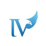 Логотип инициала IV хоука вектора голубой Стоковые Изображения RF