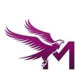 Логотип инициала m хоука вектора фиолетовый храбрый Стоковая Фотография RF