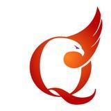 Логотип инициала q хоука вектора оранжевый Стоковые Изображения RF