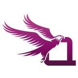 Логотип инициала q хоука вектора фиолетовый храбрый Стоковое Изображение