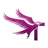 Логотип инициала t хоука вектора фиолетовый храбрый Стоковые Изображения