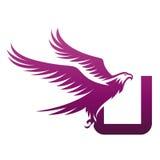 Логотип инициала u хоука вектора фиолетовый храбрый Стоковые Изображения