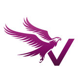 Логотип инициала v хоука вектора фиолетовый храбрый Стоковые Фото
