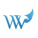 Логотип инициала WV хоука вектора голубой Стоковая Фотография RF
