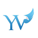 Логотип инициала YV хоука вектора голубой Стоковое Фото