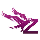 Логотип инициала z хоука вектора фиолетовый храбрый Стоковые Фотографии RF