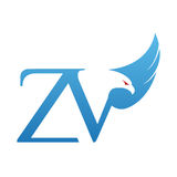 Логотип инициала ZV хоука вектора голубой Стоковая Фотография RF