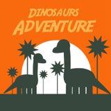 Логотип искусства вектора иллюстрации приключения динозавров Стоковое Изображение RF