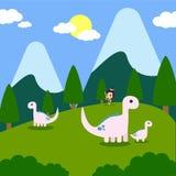 Логотип искусства вектора иллюстрации приключения динозавров Стоковая Фотография RF