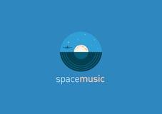 Логотип, диск музыки и луна Стоковое Изображение RF