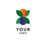 Логотип лист с ягодами и плодоовощами цвета иллюстрация штока