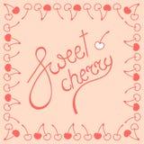 Логотип литерности сладостной вишни Стоковые Изображения RF