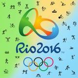 Логотип и все 38 дисциплин в Олимпийских Играх в Рио, Бразилии 2016 иллюстрация вектора