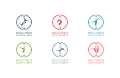 Логотип или значок школы танцев поляка Фирменный стиль для школы танцев поляка Стоковые Изображения