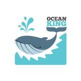 Логотип или плакат кита вектора Стоковая Фотография RF