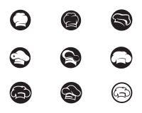Логотип и символы шляпы шеф-повара чернят значок вектора цвета иллюстрация вектора