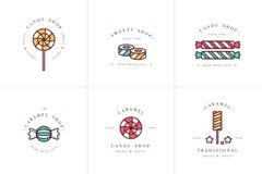 Логотип и эмблемы шаблонов установленного дизайна вектора красочные - леденцы на палочке с брызгают конфеты карамельки Различный  Стоковые Фото