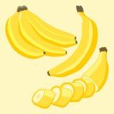 Логотип иллюстрации для желтых бананов Стоковое Изображение