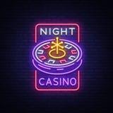 Логотип казино ночи в неоновом стиле Неоновая вывеска рулетки, яркое светящее знамя, афиша ночи, яркая реклама  Стоковое Фото