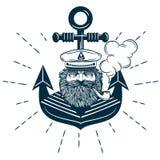 Логотип капитана с анкером на предпосылке изолировал иллюстрацию Иллюстрация вектора