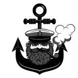 Логотип капитана с анкером на предпосылке изолировал иллюстрацию Стоковые Изображения RF
