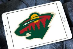 Логотип команды хоккея на льде Минесоты одичалый стоковые изображения
