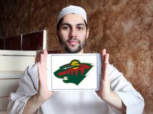 Логотип команды хоккея на льде Минесоты одичалый стоковое фото rf