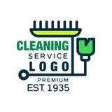 Логотип компании чистки дома и офиса в линии стиле Символ зеленой детержентной бутылки с щеткой Творческий плоский значок Стоковое фото RF