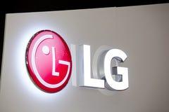 Логотип компании LG на стене LG южнокорейская многонациональная накопленная корпорация Стоковое фото RF