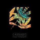 Логотип конопли творческий Символ марихуаны красочный Шаблон логотипа конопли бесплатная иллюстрация