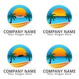 Логотип концепции пляжа лета Стоковое Изображение RF