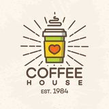 Логотип кофейни при бумажный стаканчик стиля цвета кофе изолированный на предпосылке для кафа, магазина Стоковое Фото