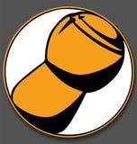 Логотип круга пробочки Шампани белый на серой предпосылке Стоковая Фотография